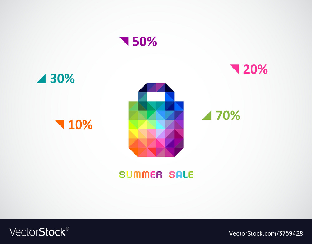 Stylized bag from triangles in bright color for vector | Price: 1 Credit (USD $1)
