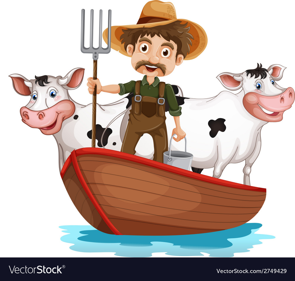 A boat with a man and two cows vector | Price: 1 Credit (USD $1)