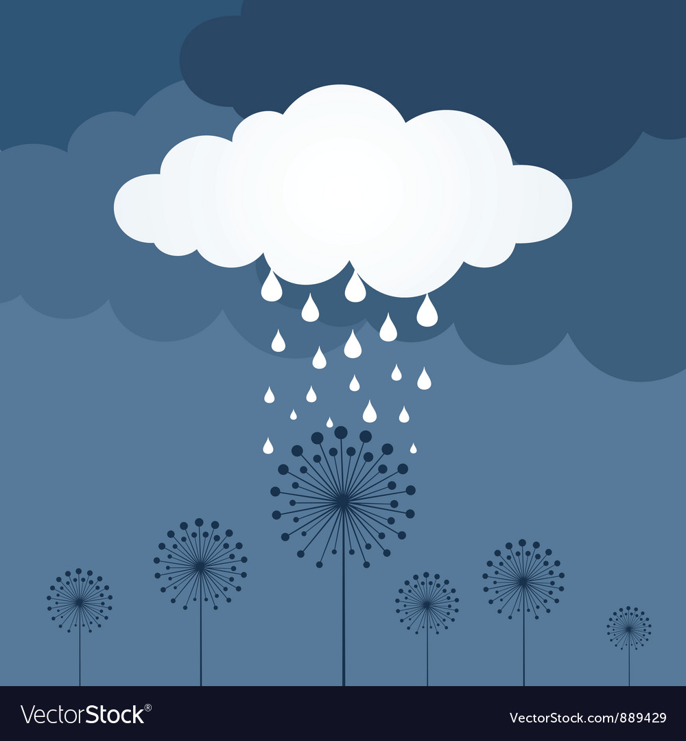 Flower a rain vector | Price: 1 Credit (USD $1)