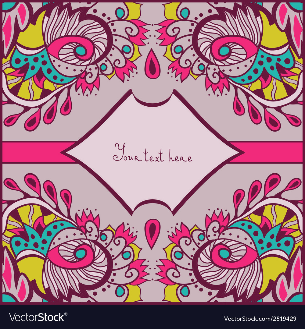 Greeting card with abstract flowers vector   Price: 1 Credit (USD $1)