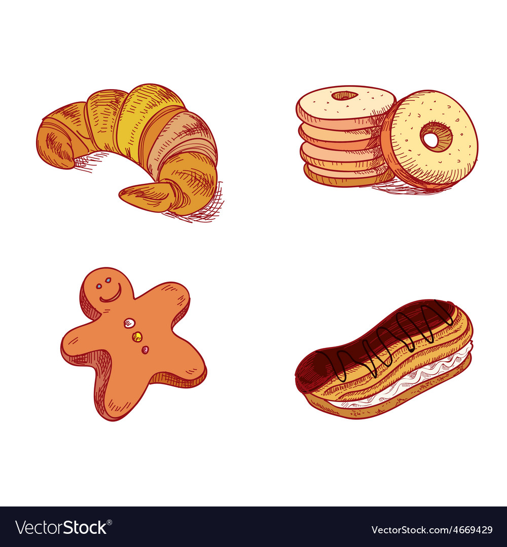 Hand drawn sketch confections dessert pastry vector | Price: 1 Credit (USD $1)