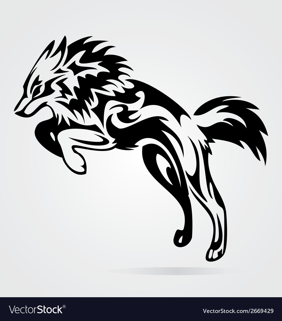Jumping wolf tribal vector | Price: 1 Credit (USD $1)