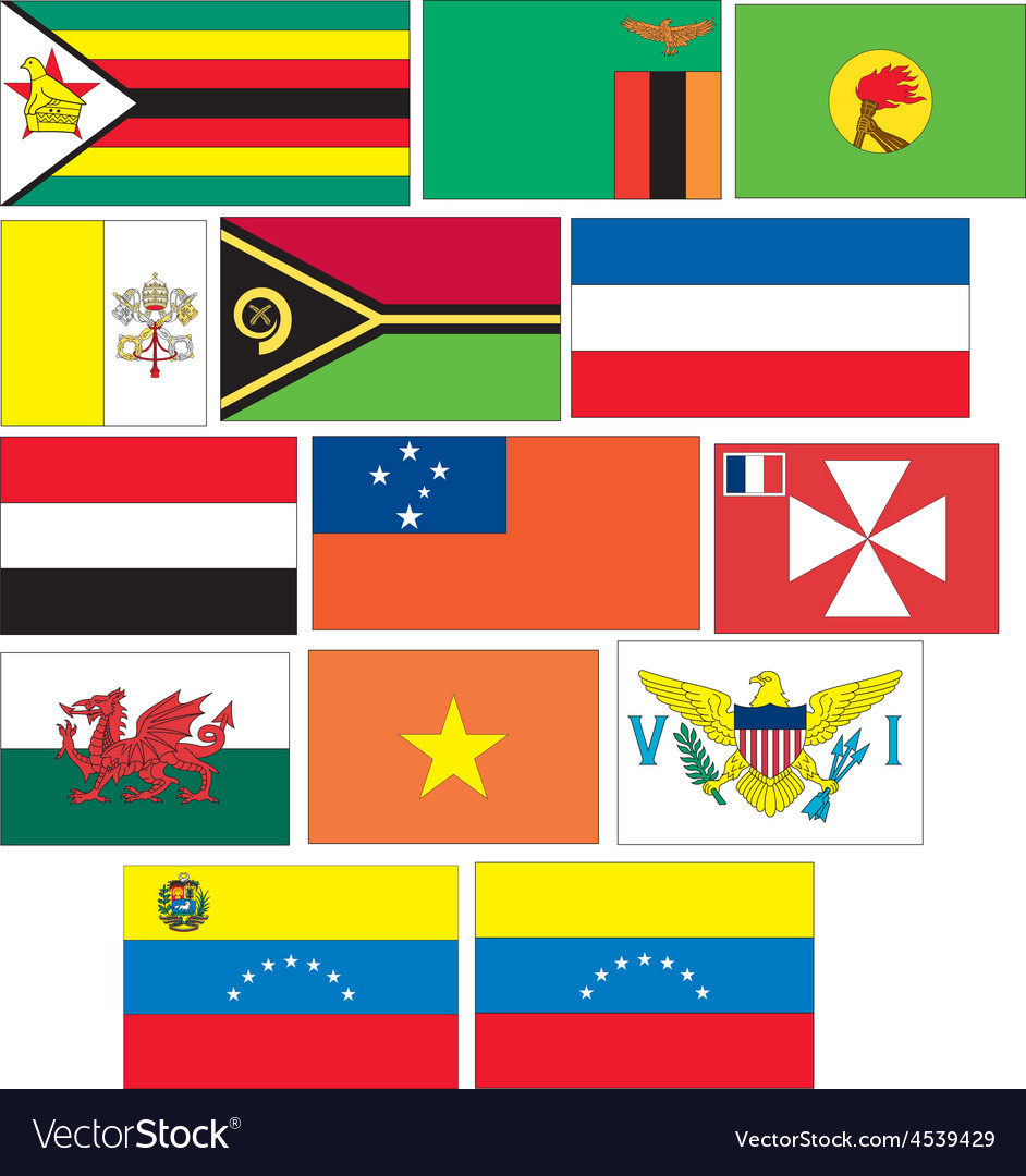 Set 14 flags of countries started with v w y z vector | Price: 1 Credit (USD $1)
