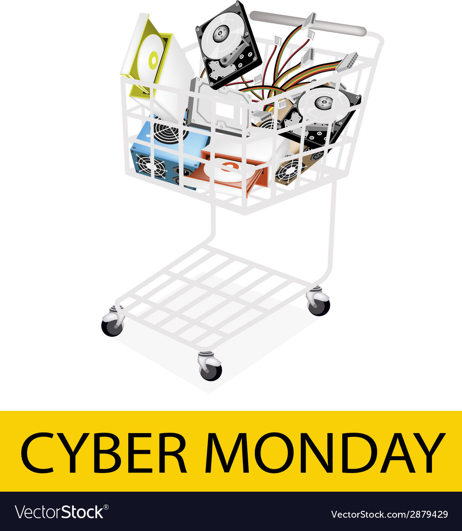 Set of hardware computer in cyber monday shopping vector   Price: 1 Credit (USD $1)