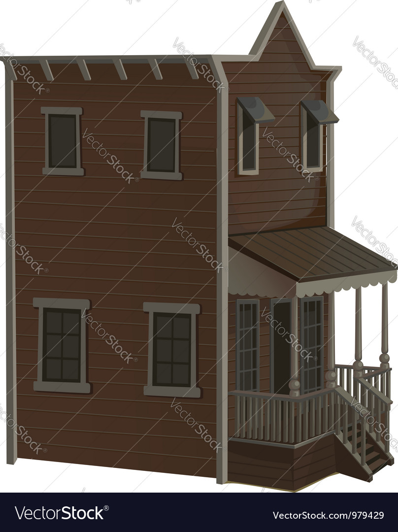 Wooden two story house for the town wild west vector | Price: 3 Credit (USD $3)