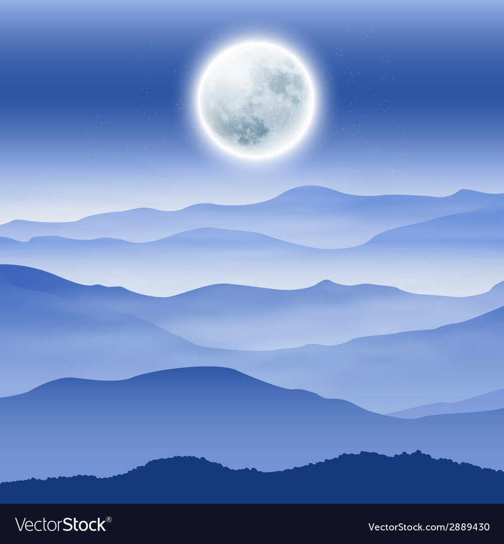 Background with fullmoon and mountains in the fog vector | Price: 1 Credit (USD $1)