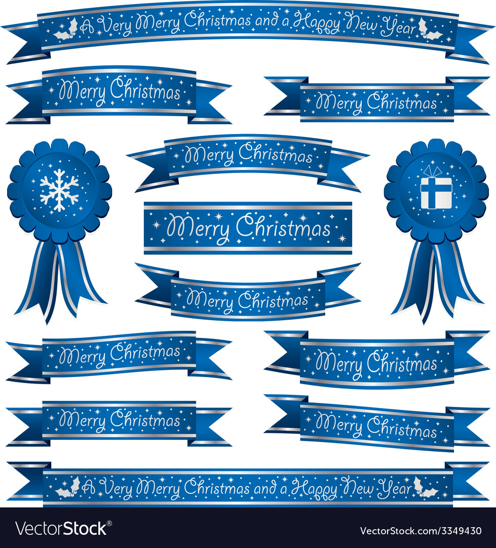 Blue christmas ribbons vector   Price: 1 Credit (USD $1)