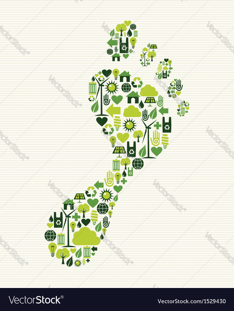 Green icons foot design vector | Price: 1 Credit (USD $1)