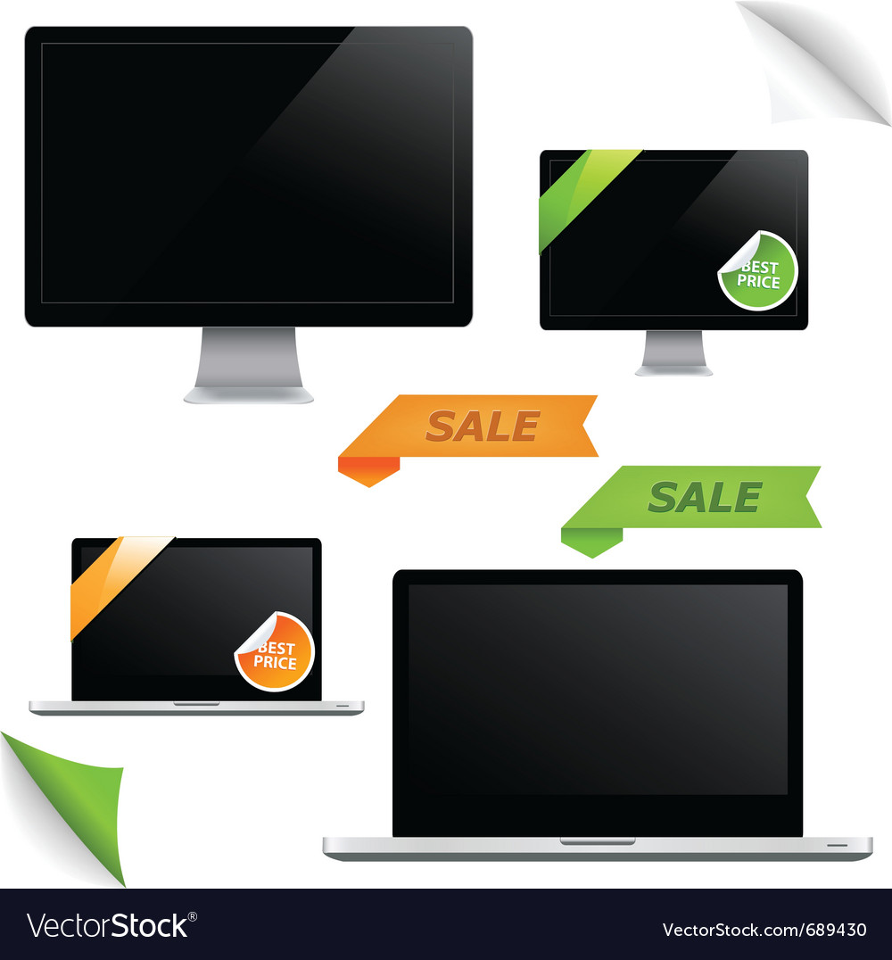 Monitor screens vector | Price: 1 Credit (USD $1)