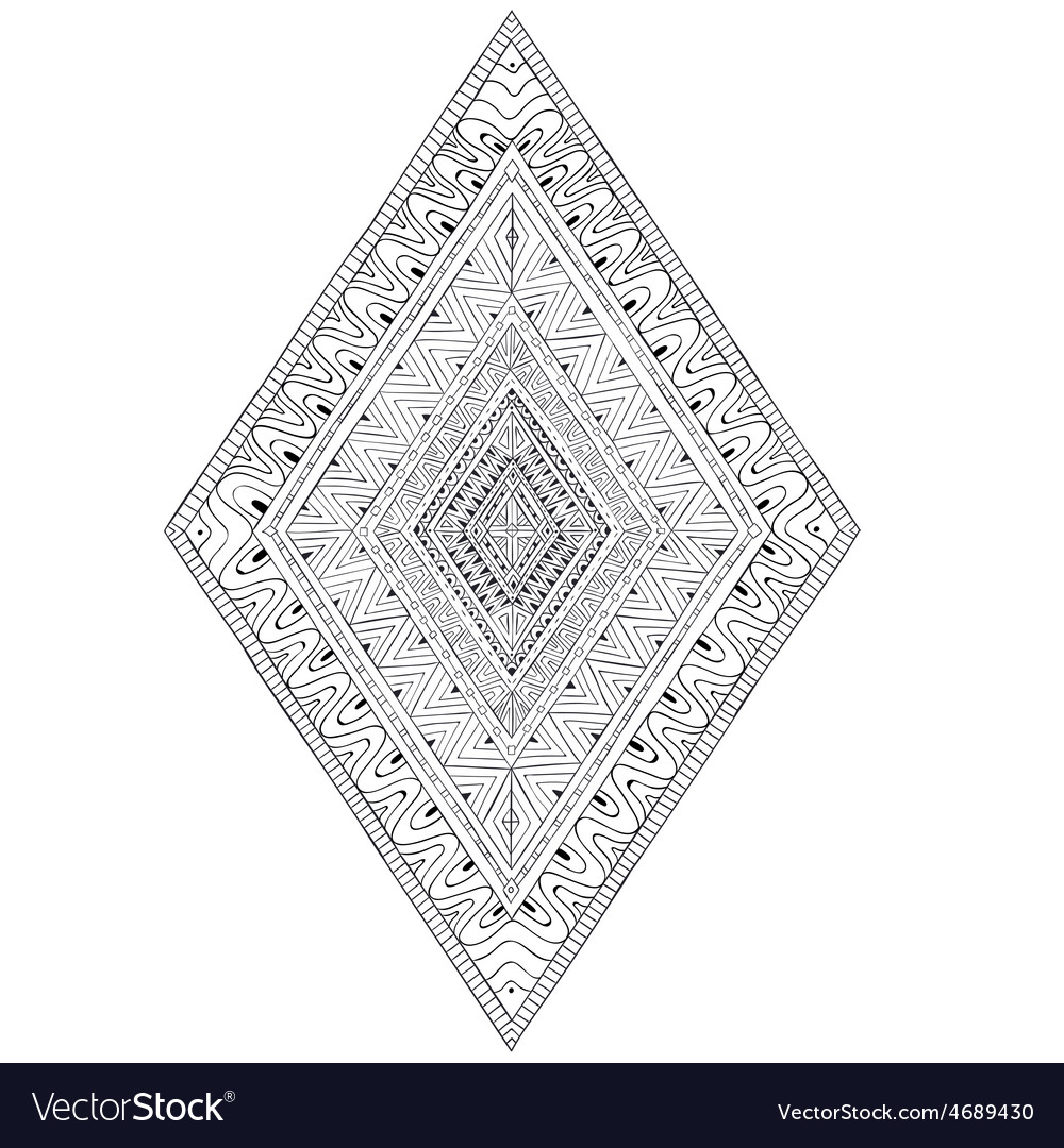 Original drawing ethnic tribal doddle rhombus 2 vector | Price: 1 Credit (USD $1)