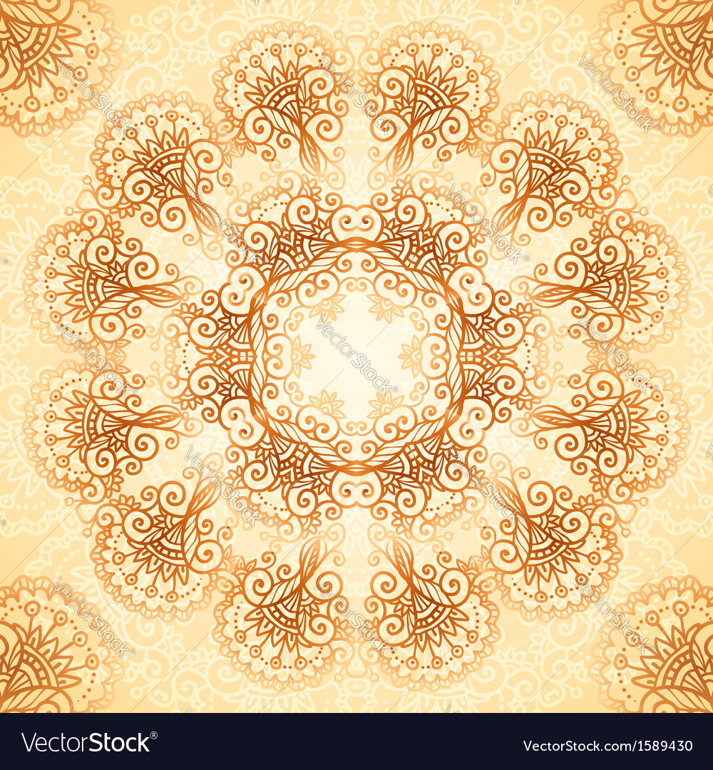 Ornate vintage circle pattern in mehndi style vector | Price: 1 Credit (USD $1)
