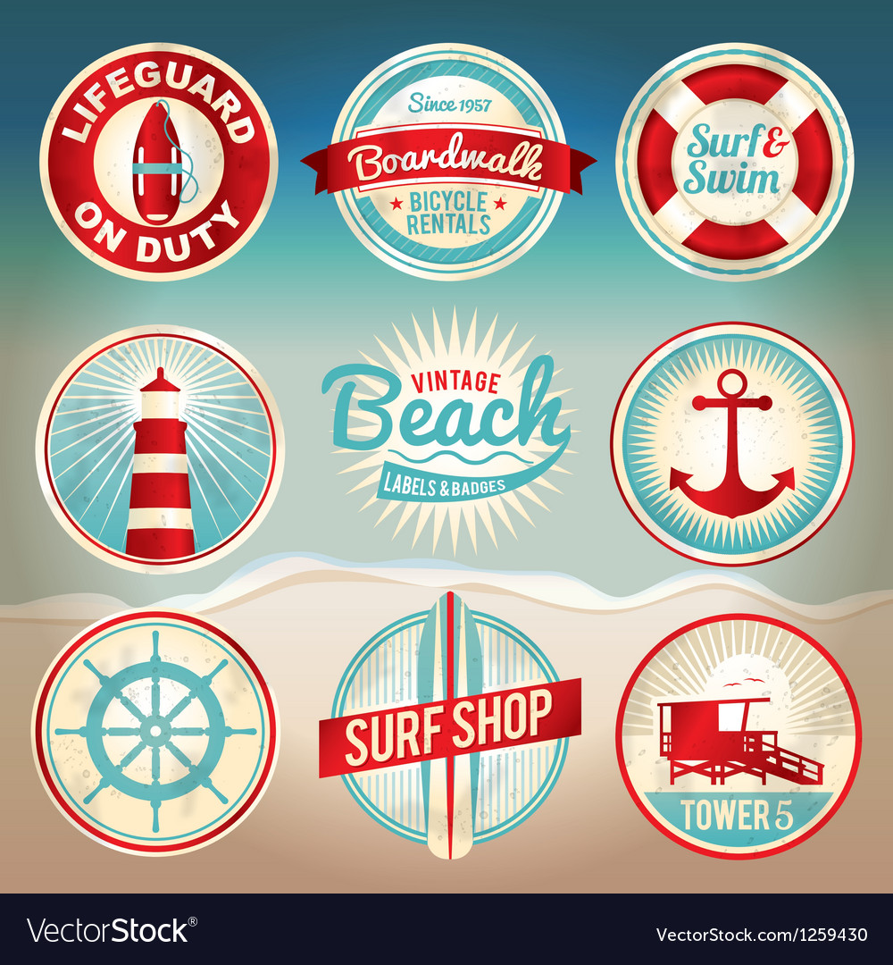 Retro beach labels and badges vector | Price: 1 Credit (USD $1)