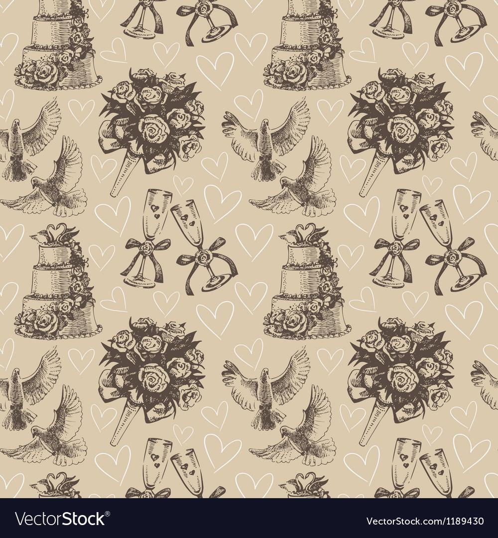 Seamless wedding pattern vector | Price: 1 Credit (USD $1)