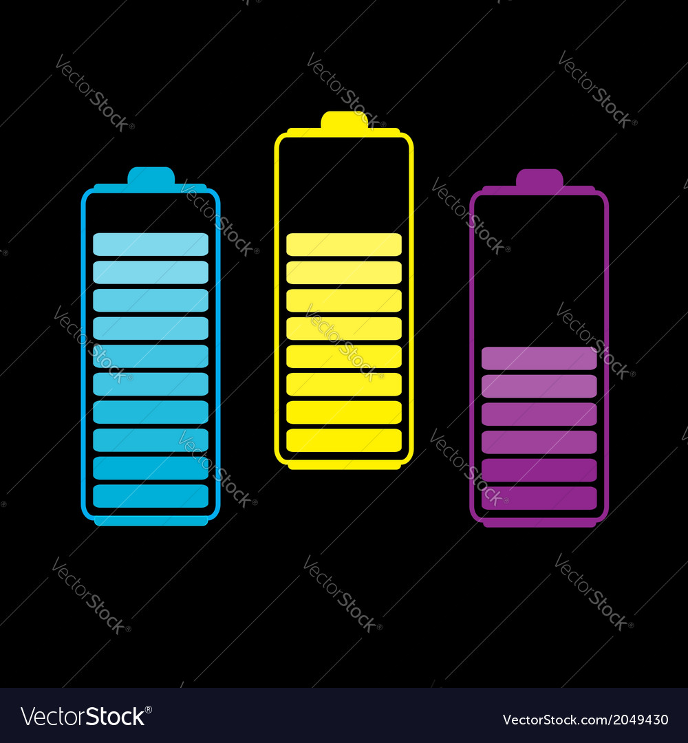 Set of three colorful batteries vector | Price: 1 Credit (USD $1)