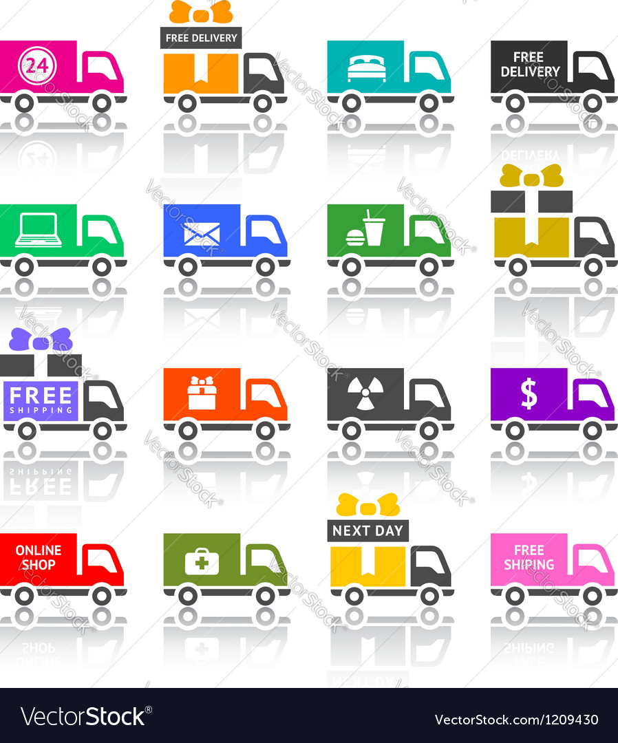 Set of truck colored icons vector | Price: 1 Credit (USD $1)