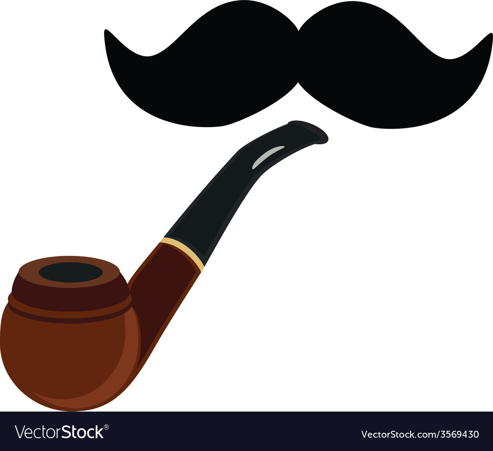 Smoking pipe and mustache vector | Price: 1 Credit (USD $1)