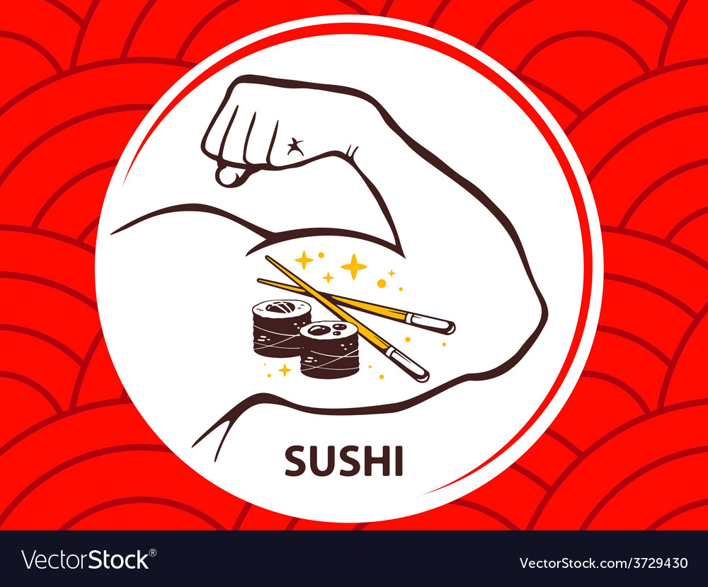 Strong man hand with icon of sushi on re vector | Price: 1 Credit (USD $1)