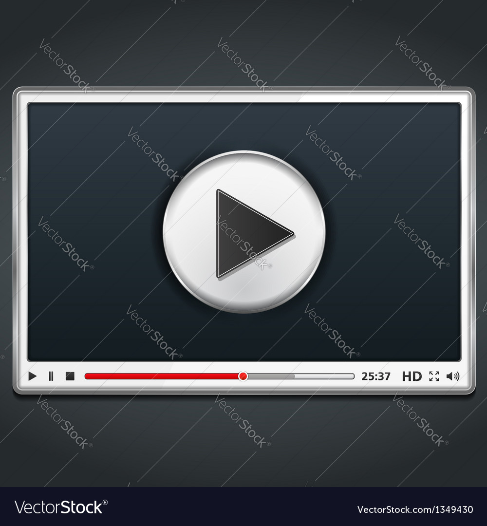 White video player vector | Price: 1 Credit (USD $1)