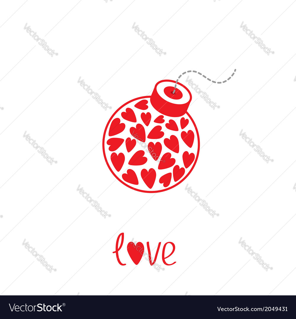 Bomb with hearts inside love card vector | Price: 1 Credit (USD $1)