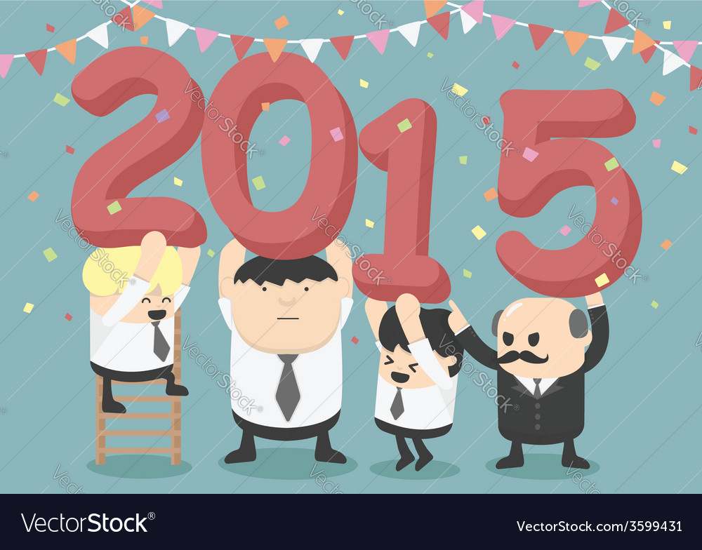 Businessman happy new year party vector | Price: 1 Credit (USD $1)