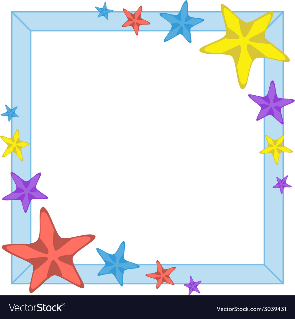 Decorative cyan frame with cartoon starfishes vector | Price: 1 Credit (USD $1)