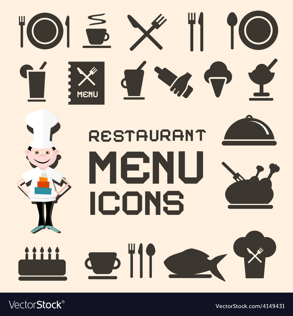 Flat design restaurant menu icons set vector | Price: 1 Credit (USD $1)