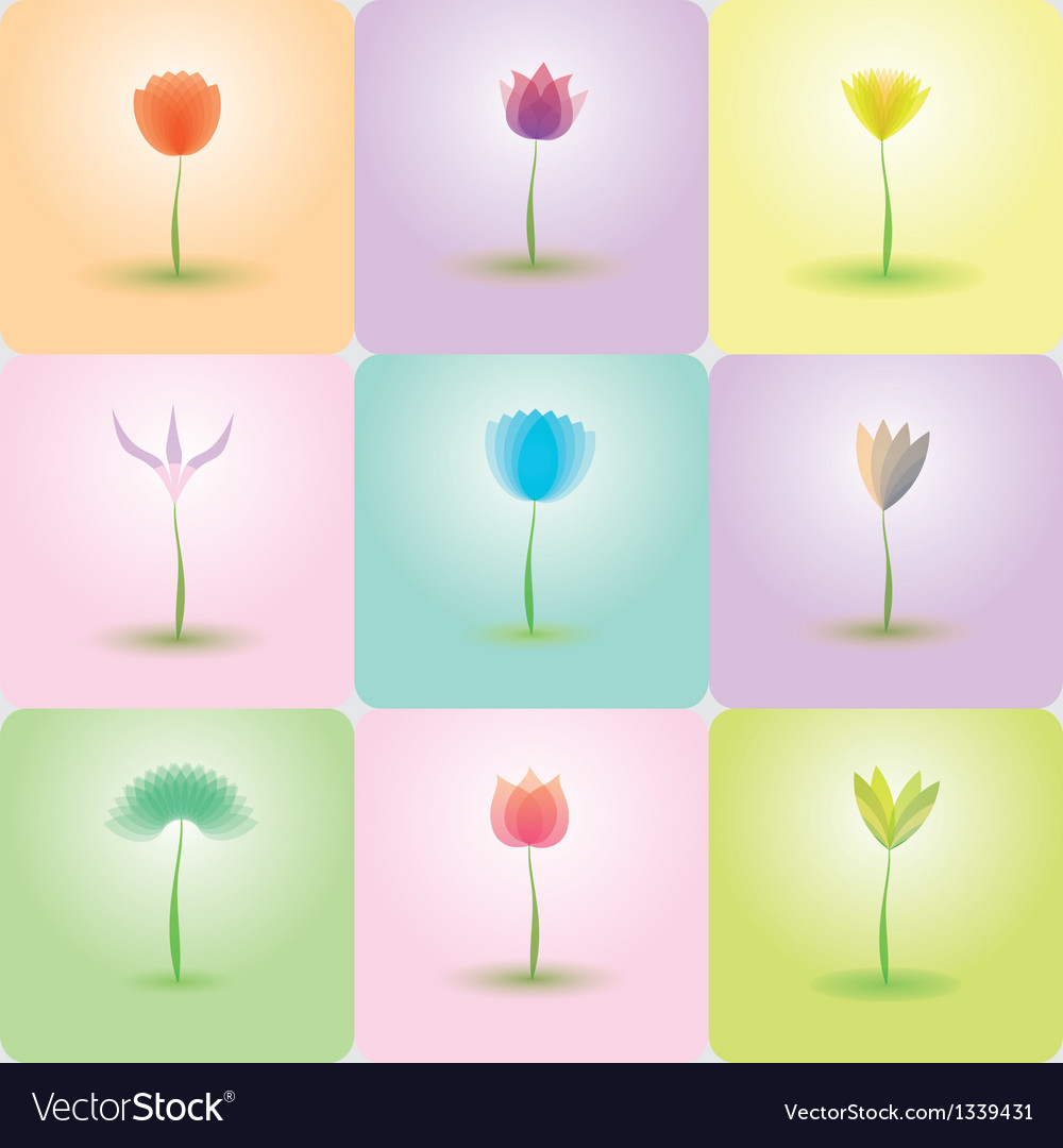 Flowers icon set nature background vector | Price: 1 Credit (USD $1)