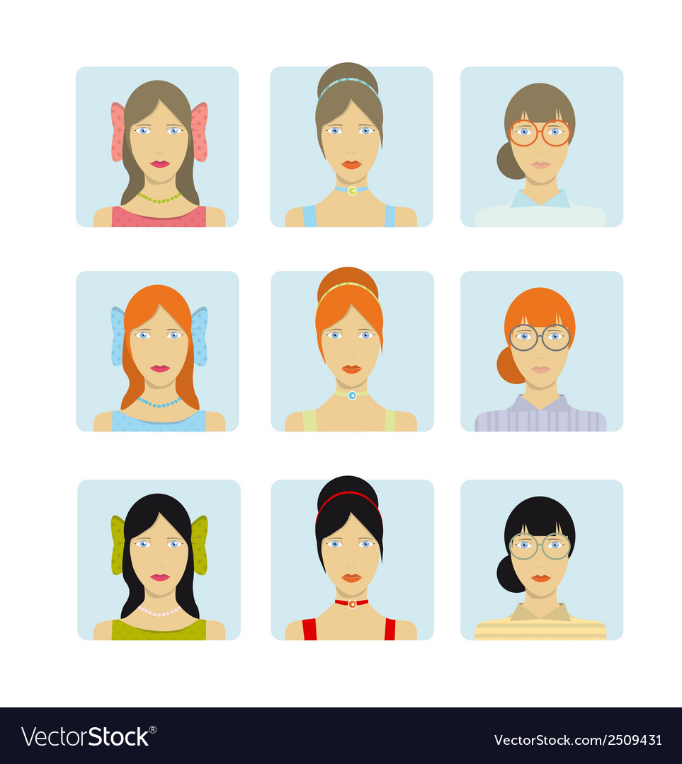 Girl faces icon set vector | Price: 1 Credit (USD $1)