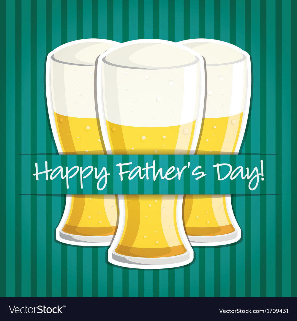 Happy fathers day beer card in format vector | Price: 3 Credit (USD $3)