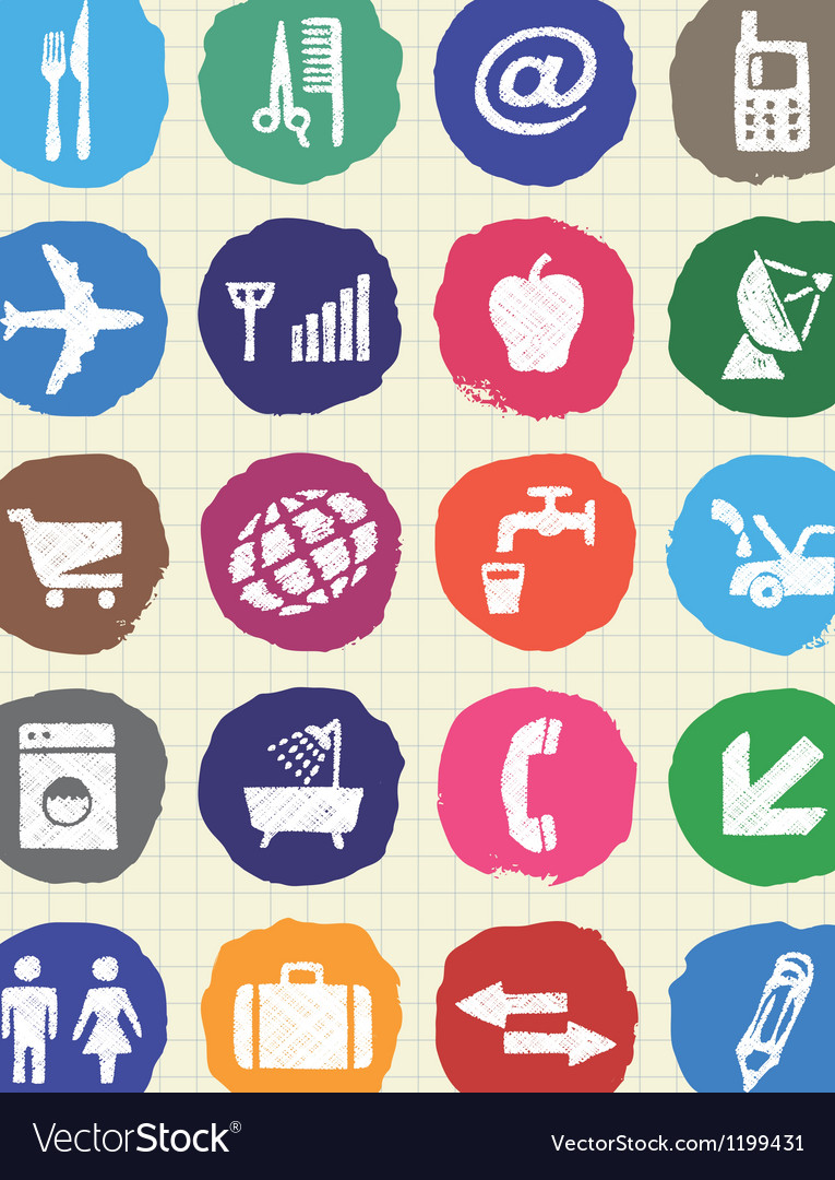 Hotel and service icons set drawn by chalk vector | Price: 1 Credit (USD $1)