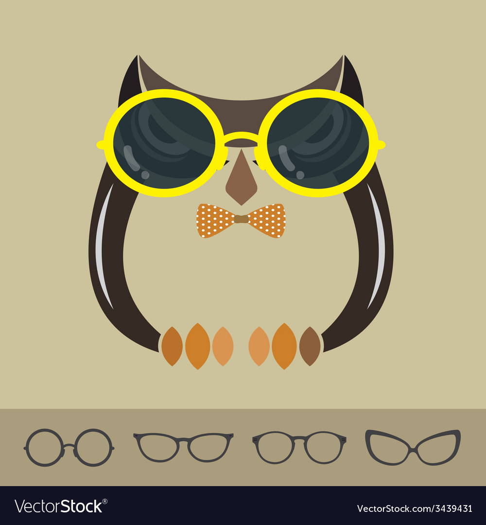 Images of owl and glasses vector | Price: 1 Credit (USD $1)