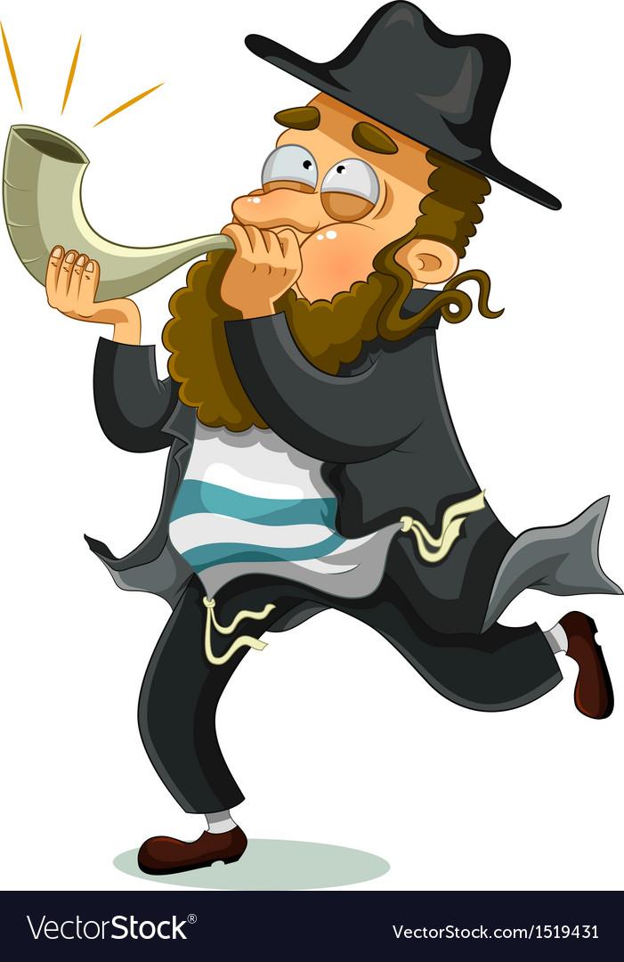 Jewish man with shofar vector | Price: 3 Credit (USD $3)