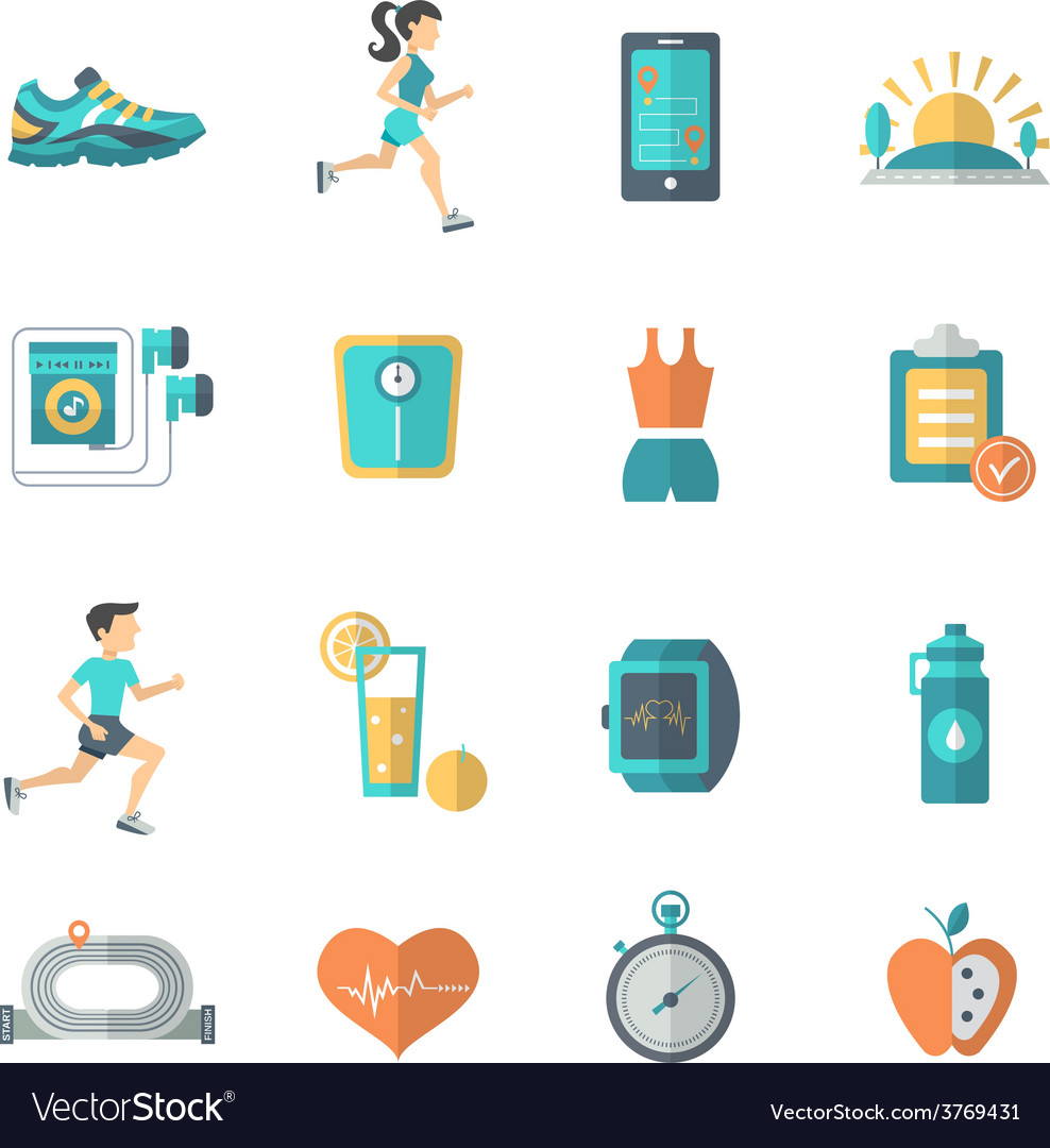 Jogging icons flat vector | Price: 1 Credit (USD $1)