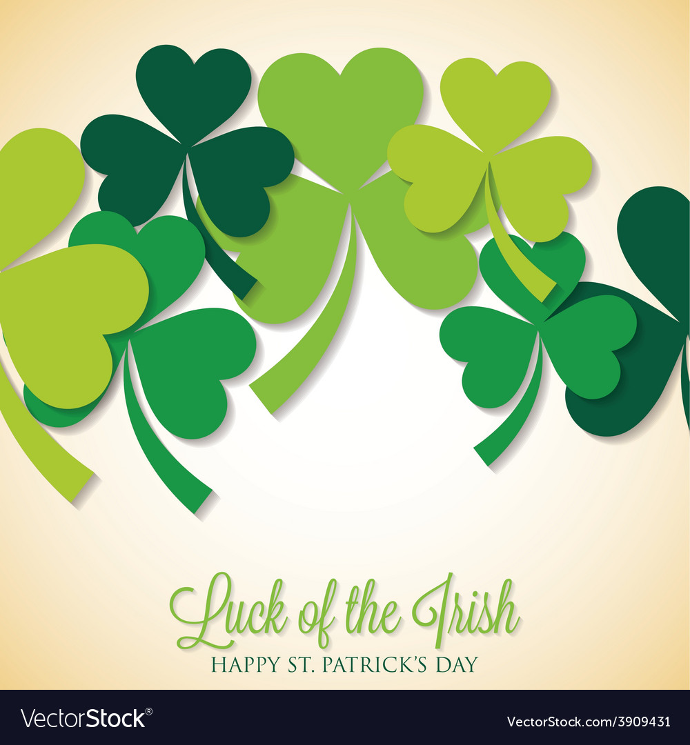 Overlapping shamrock st patricks day card in vector   Price: 1 Credit (USD $1)