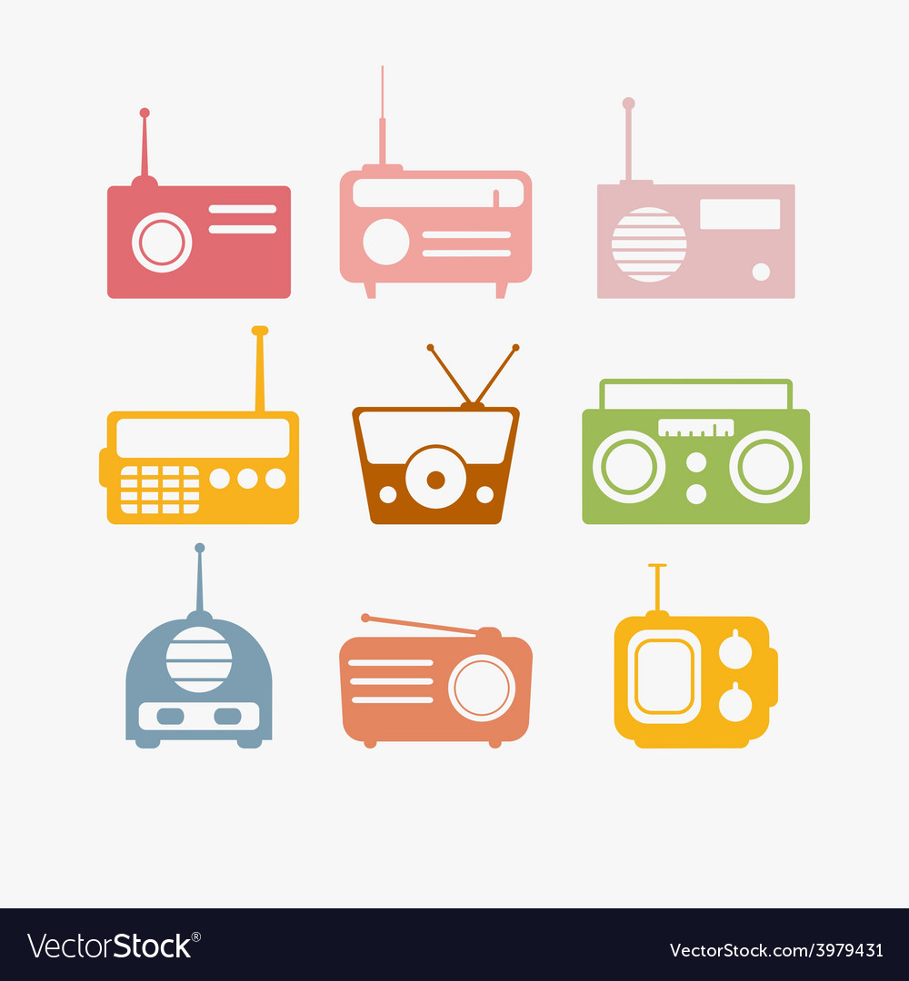 Radio isolated objects set vector | Price: 1 Credit (USD $1)