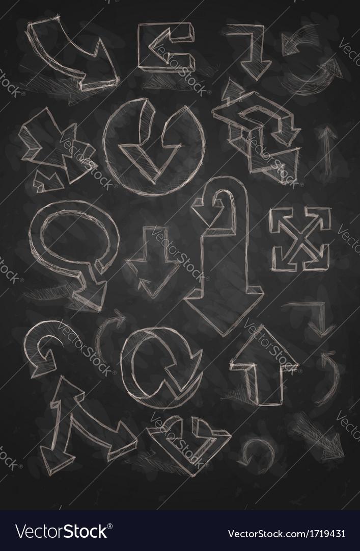 Set of hand drawn doodle arrows on blackboard vector | Price: 1 Credit (USD $1)