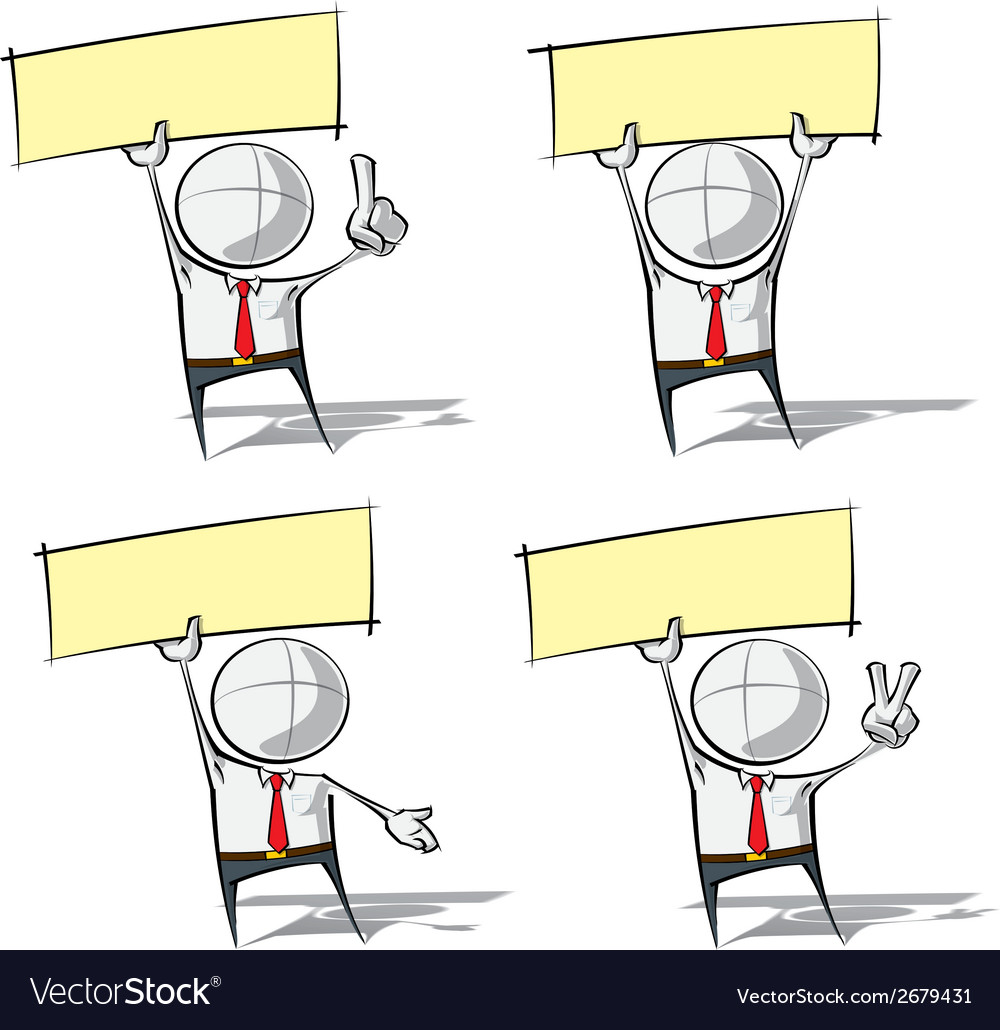 Simple business people holding up a label vector | Price: 1 Credit (USD $1)