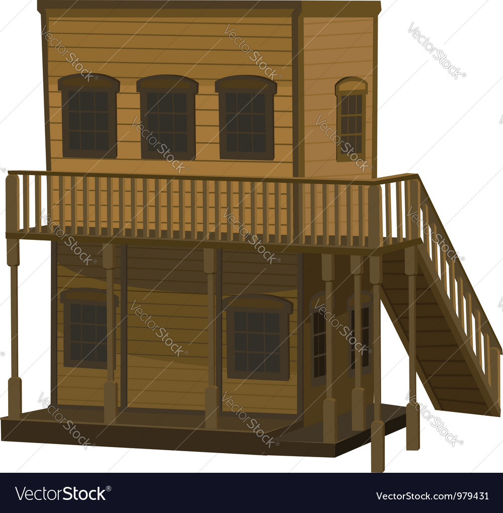 Wooden two story light brown house for the town vector | Price: 3 Credit (USD $3)