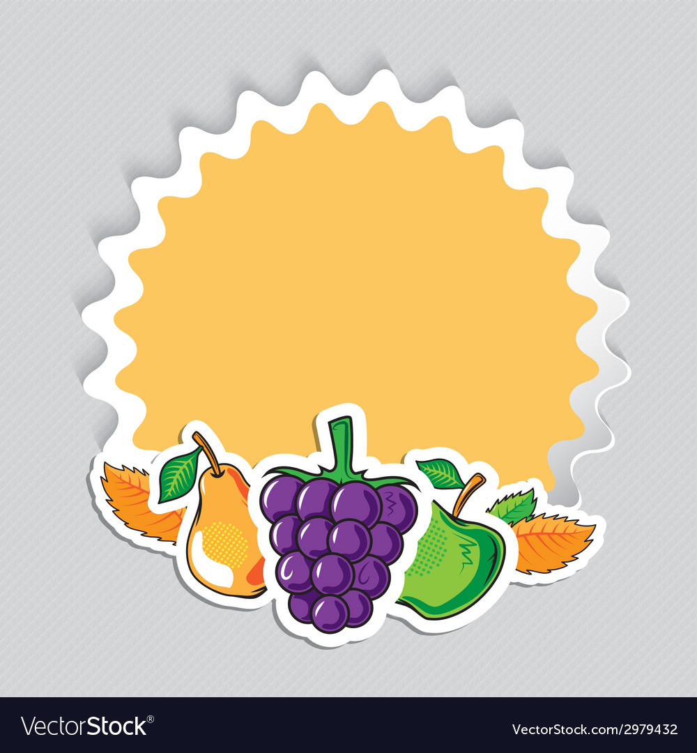 Autumn sticker with fruits vector | Price: 1 Credit (USD $1)