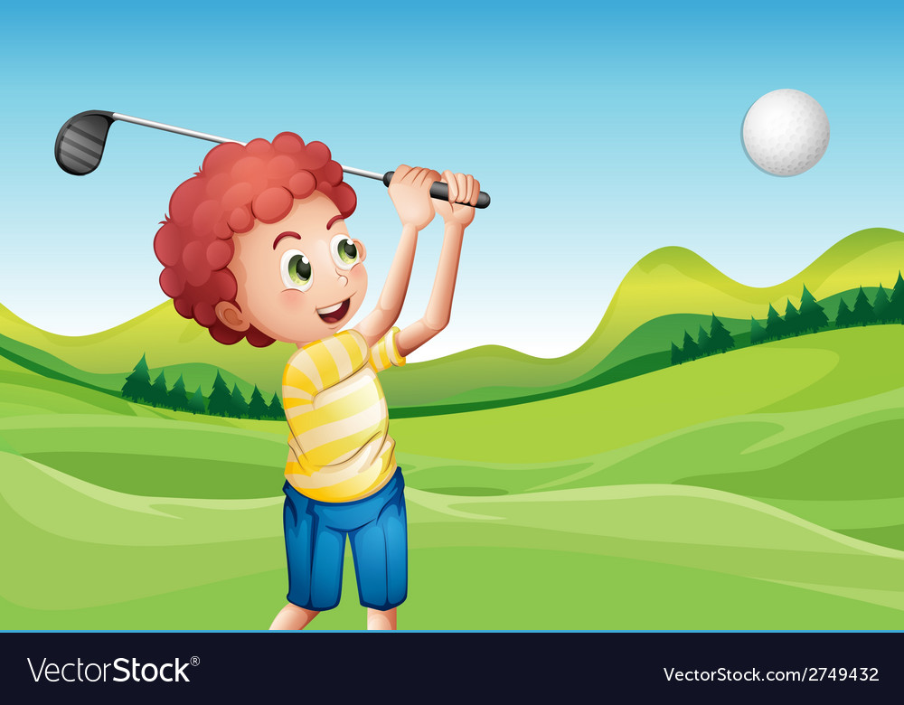 Boy playing golf vector | Price: 1 Credit (USD $1)