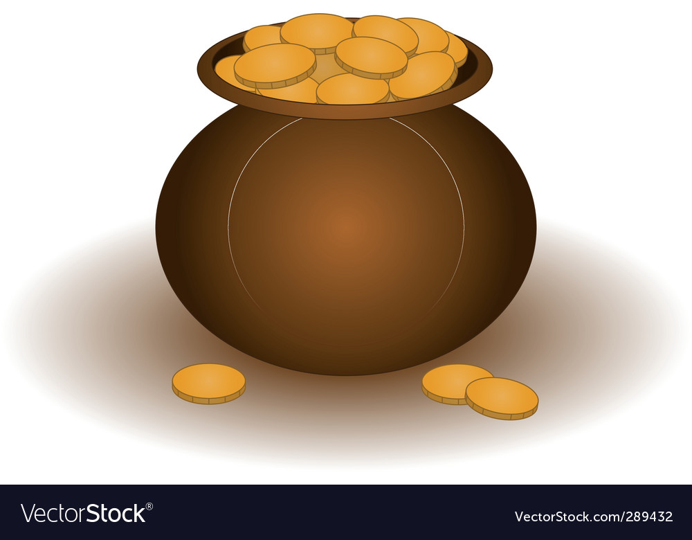 Clay pot with gold vector | Price: 1 Credit (USD $1)