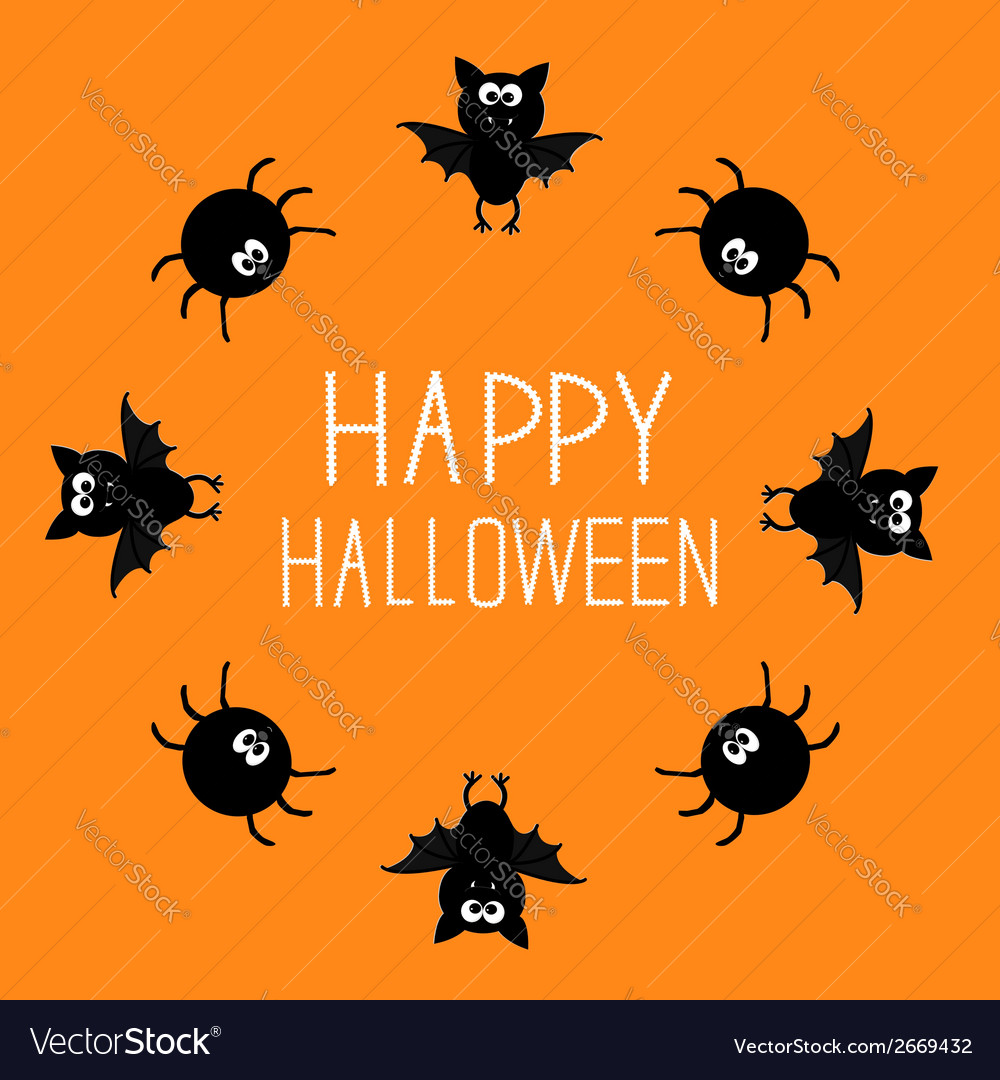 Cute bat and spider round frame happy halloween vector | Price: 1 Credit (USD $1)
