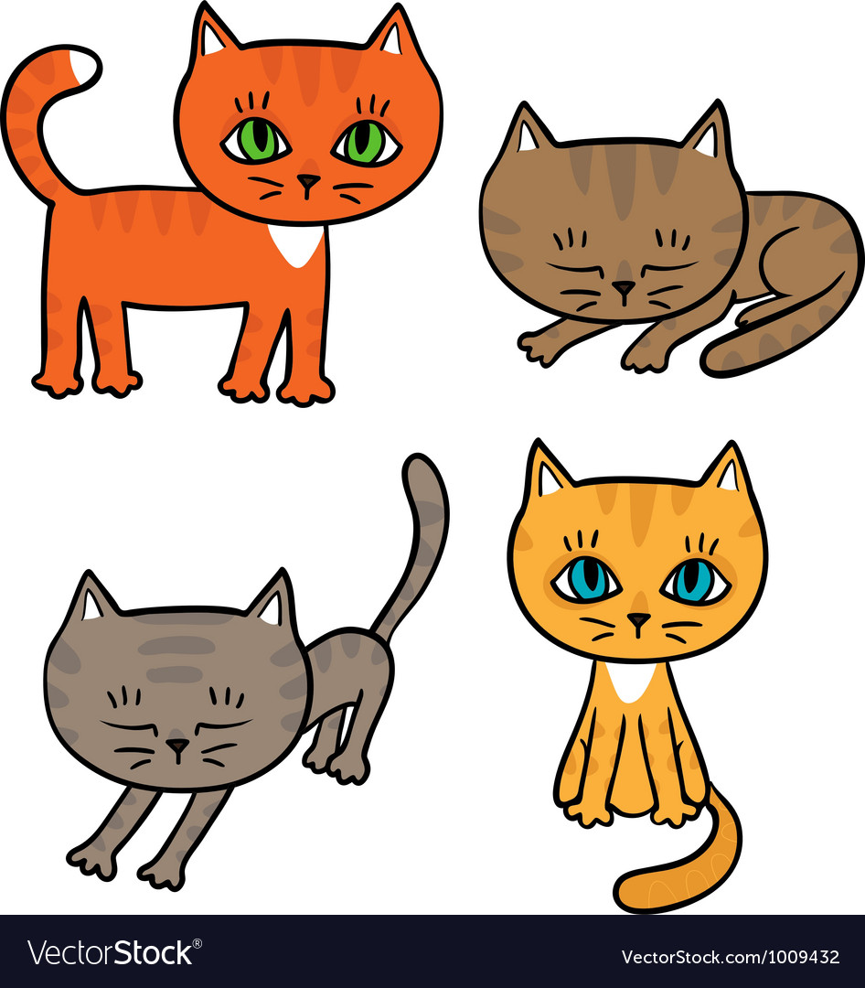 Four little kittens vector | Price: 3 Credit (USD $3)
