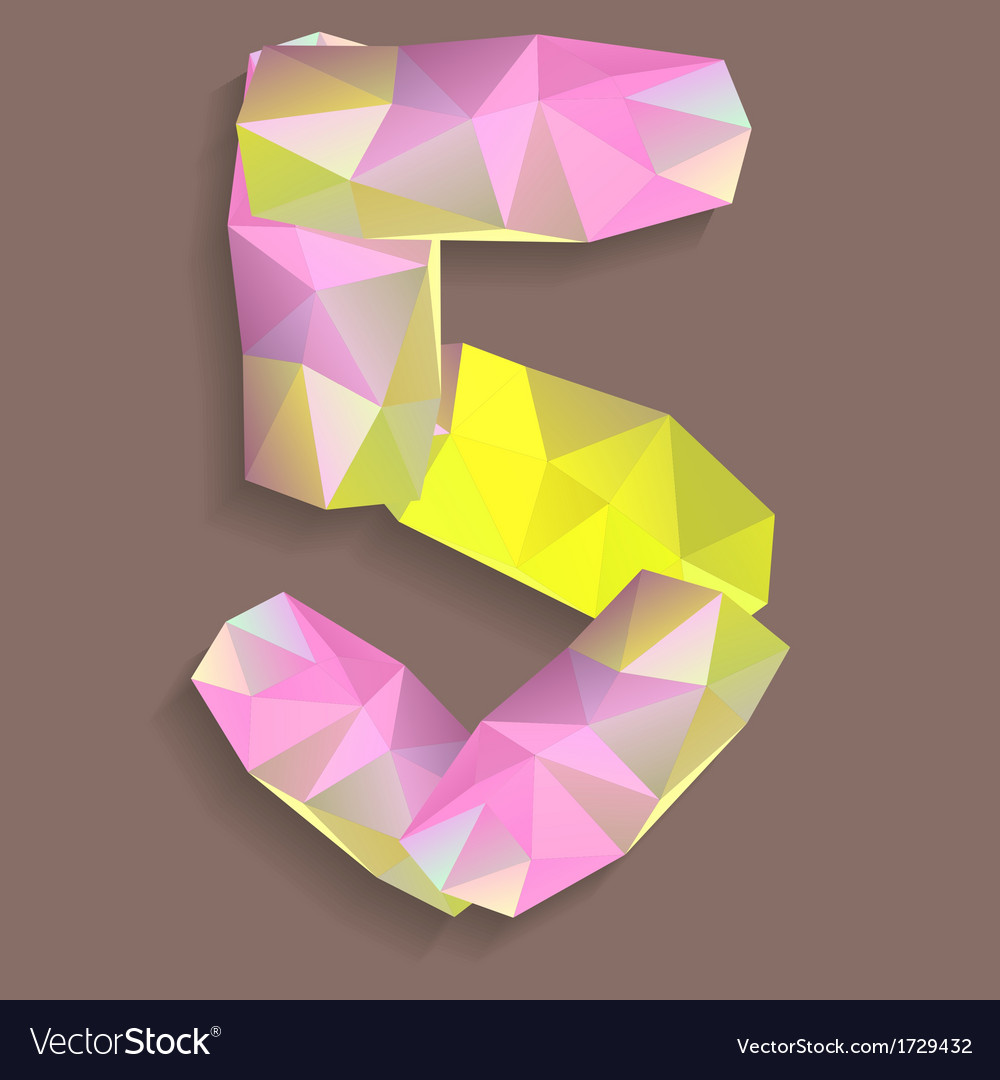 Geometric crystal digit 5 vector | Price: 1 Credit (USD $1)