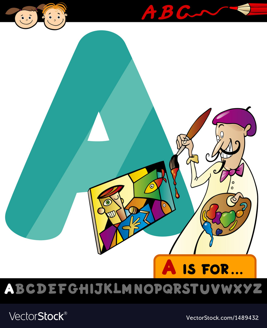 Letter a with artist cartoon vector | Price: 1 Credit (USD $1)
