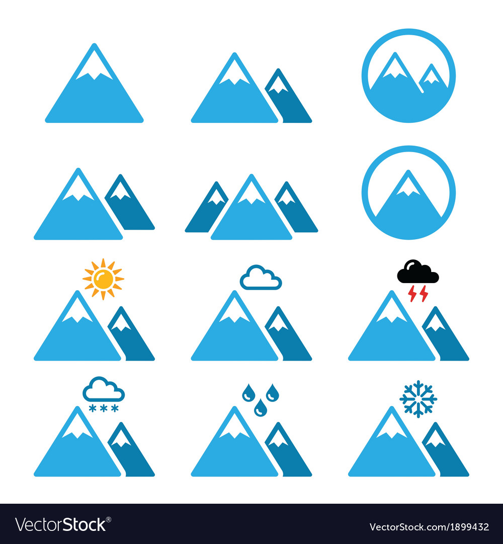 Mountain winter icons set vector | Price: 1 Credit (USD $1)