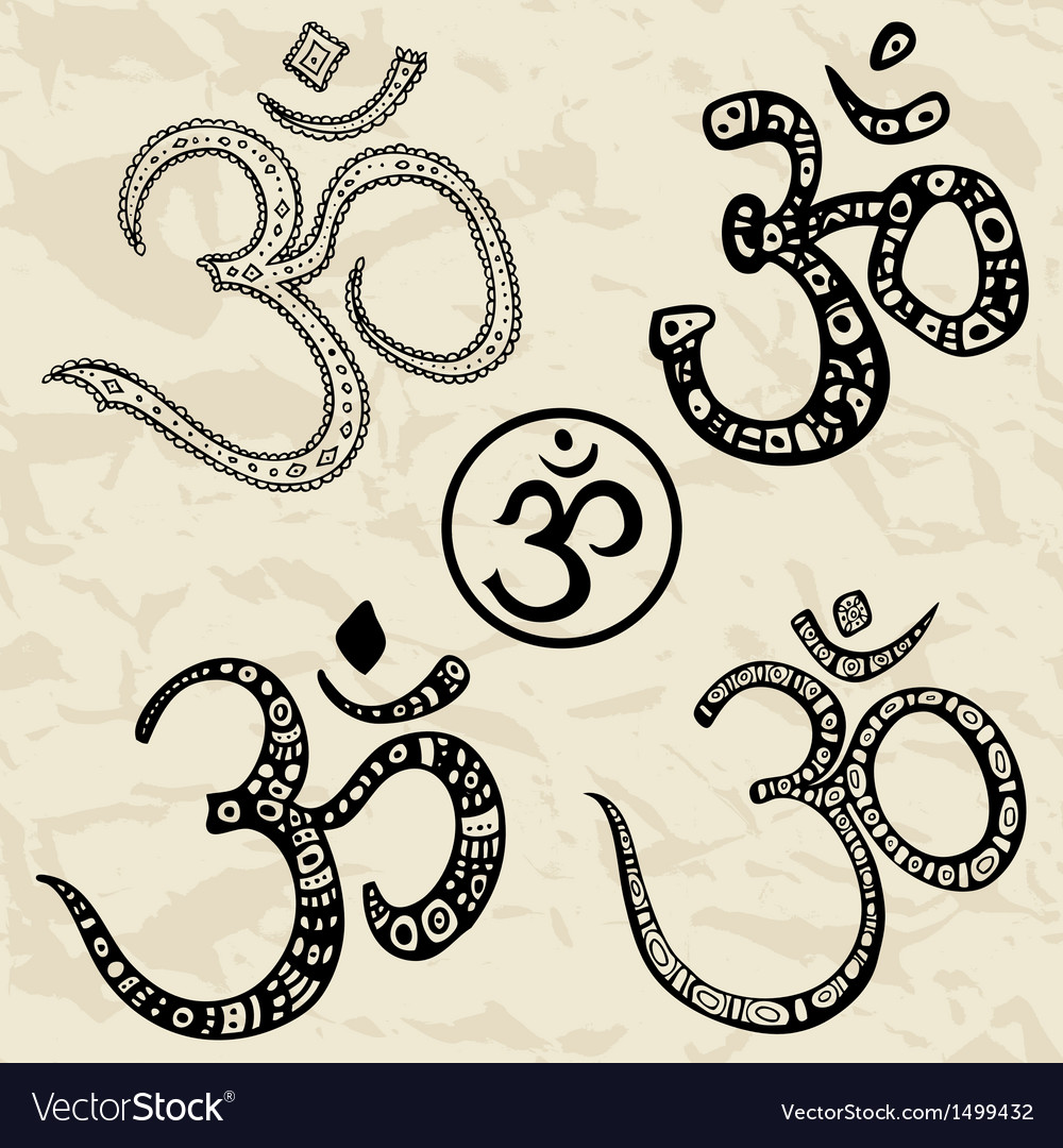 Ohm om aum symbol hand drawn vector | Price: 1 Credit (USD $1)