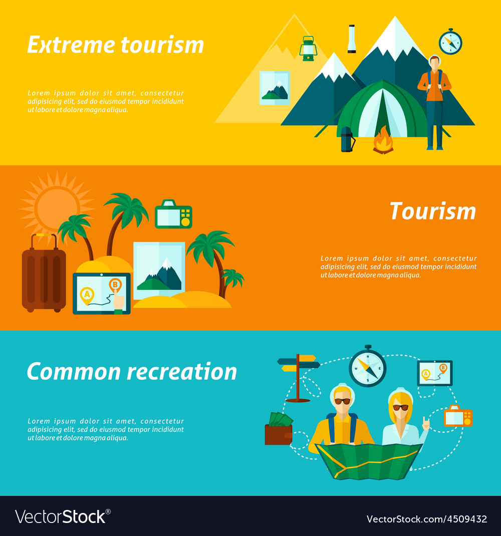 Tourist banner set vector | Price: 1 Credit (USD $1)