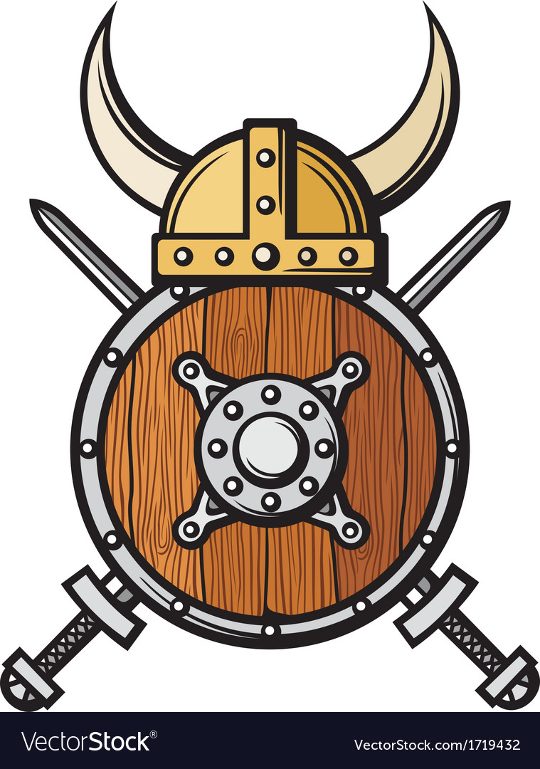 Viking helmet shield and crossed swords vector | Price: 1 Credit (USD $1)
