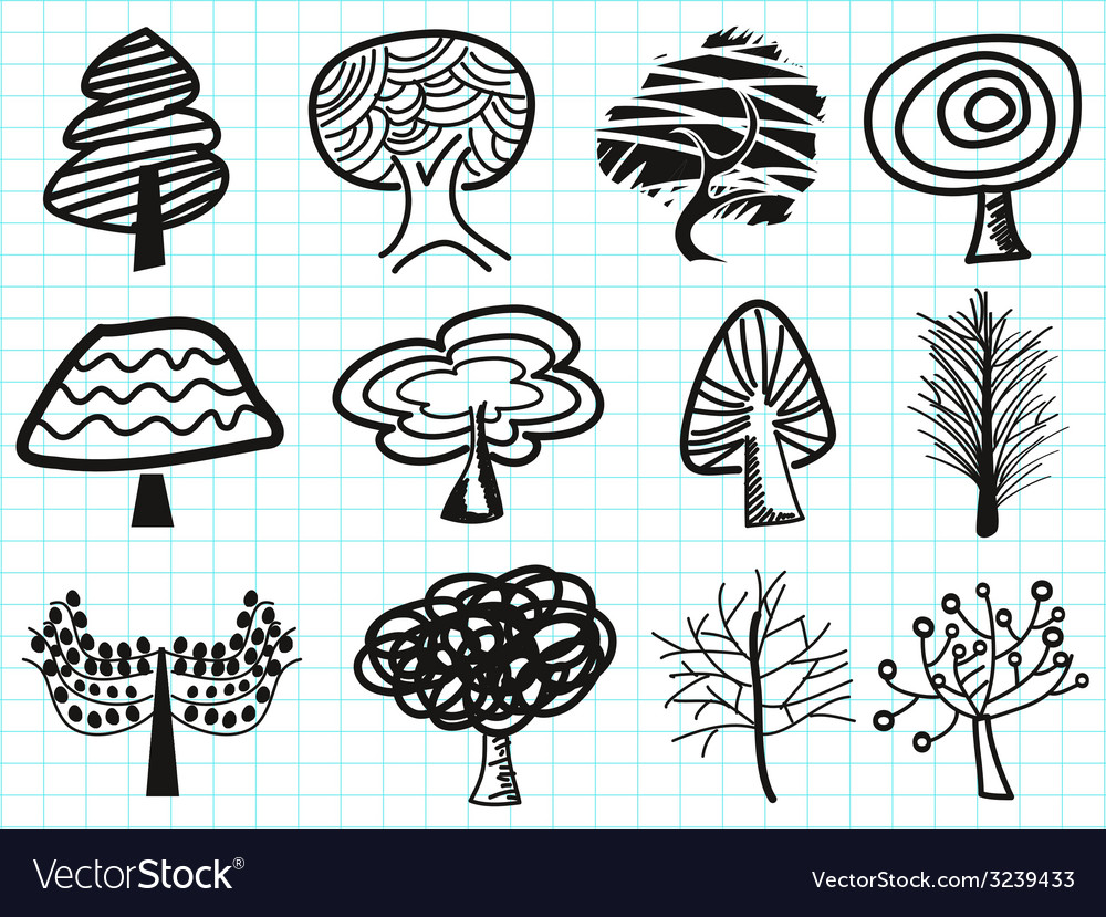 Doodle tree icons vector | Price: 1 Credit (USD $1)